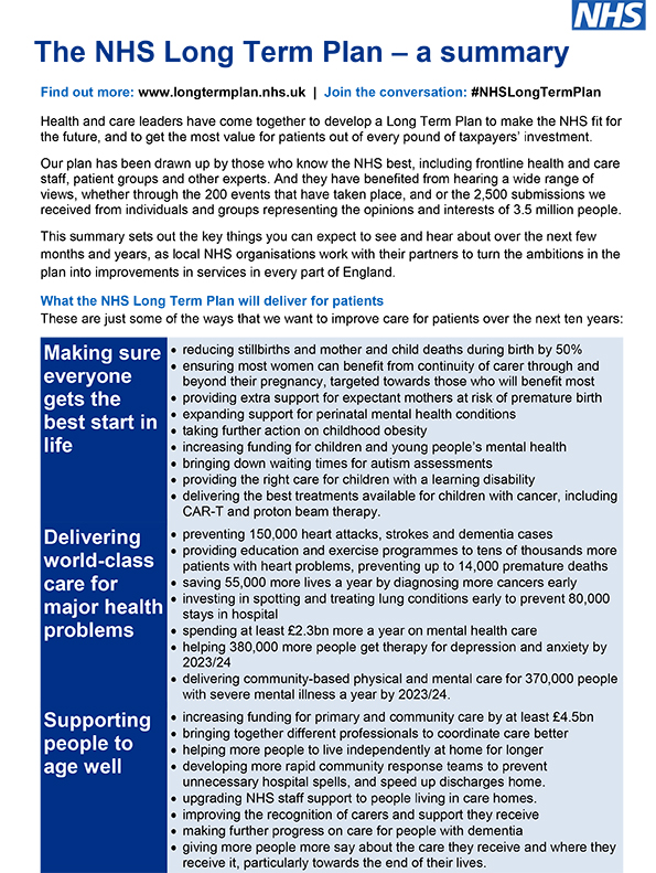 The NHS Long Term Plan - a summary