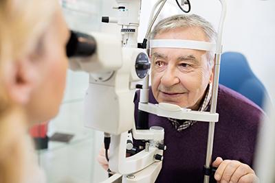 A man has an eye test