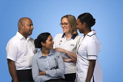 A group of NHS staff talking together